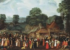 Joris Hoefnagel, Fete  at Bermondsey, c.1569, so many coifs under hats! And forehead cloths! And mad, mad hats!