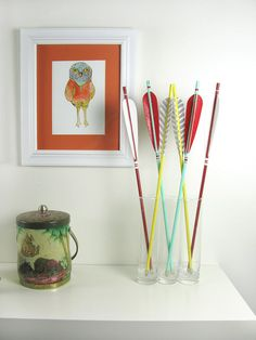 Mini Sunset Arrow Set in Sea Green, Red and Yellow Home Decor $54