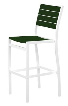 Polywood A102FAWGR Euro Bar Side Chair in Gloss White Aluminum Frame / Green