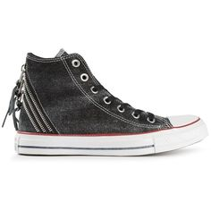 167387968aa807 Black cotton  CT  tri-zip hi-top sneakers from Converse featuring a