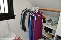 hidden closet storage sloped ceiling ikea hack - Ikea DIY - The best IKEA hacks all in one place Attic Storage, Hidden Storage, Closet Storage, Bedroom Storage, Closet Organization, Attic Closet, Master Closet, Closet Bedroom, Ikea Closet