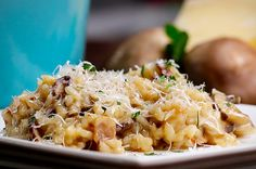 Bacon mushroom risotto- sub leeks for onions.