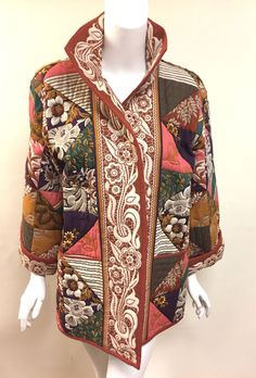 VALENTINO Rare Multicolor Patchwork Floral-Print Quilted Wool-Blend Coat Jacket Size: M/L (Estimated)