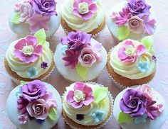 floral cupcakes - purples, pinks & touches of aqua