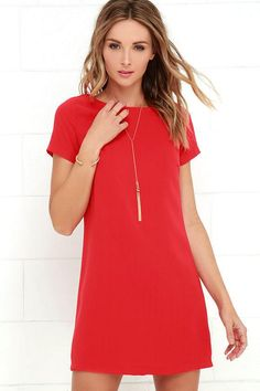 #AdoreWe #Lulus Lulus Shift and Shout Red Shift Dress - AdoreWe.com