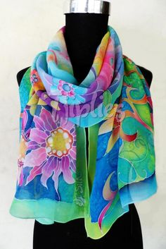This is a special order 50x180cm silk stole, made for Eling Galeri Fabric Painting