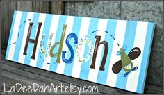 Large Custom  Personalized Wall Art on Wrapped Canvas for Boy
