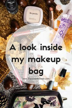 A look inside my makeup bag featuring Colourpop, L'Oreal, Charlotte Tilbury and Chanel. Lots of lipsticks. Sneakpeak makeup bag. Beauty obsessed. Autumn flatlay.
