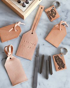Leather Bag Tags - http://www.sweetpaulmag.com/crafts/leather-bag-tags #sweetpaul