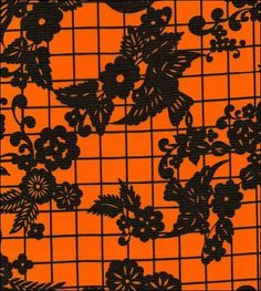 San Miguel Black on Orange Oilcloth- It's never too early to start thinking about Halloween crafts..Not only is this black and orange, it also features skeletons on bicycles! Perfect for Day of the Dead and Halloween