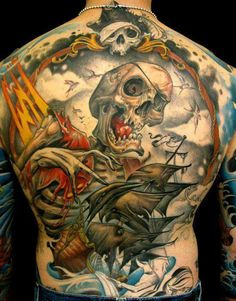 Skull pirates tattoo on full back and arms