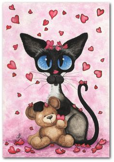 """Chat siamois Valentine Love Be Mine Bear"" dessin de AmyLyn Bihrle."