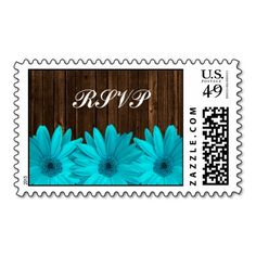 Teal Daisy Barn Wood Wedding RSVP Stamp