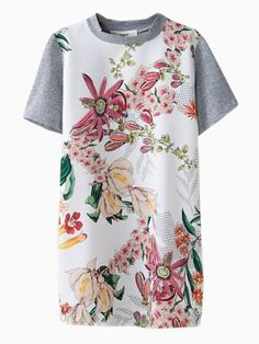 Floral Dress With Jersey Back   Choies