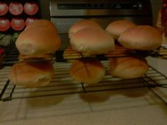 Low Sodium Wheat Hamburger Buns (Makes 12) 1 cup Water  1 large  Egg  2 cup All Purpose Flour  1 cup Whole Wheat Flour  4 tbsp + 1/4 tsp Fleischman's Vegetable Oil Spread  4 tbsp  Pure Granulated Sugar  3 tsp Yeast Place all ingredients into your bread maker as manufacture directs. Set machine to dough, press start.    When dough is finished in the machine, divide the dough into 12 pieces.    Grease a baking sheet, or use parchment paper. Roll into balls and place them on your prepared…