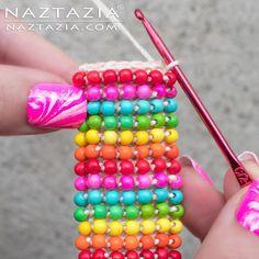 Crochet Boho Bead Bracelet - Bohemian Beaded Cuff - DIY Tutorial Free Pattern  YouTube Video by Donna Wolfe from Naztazia