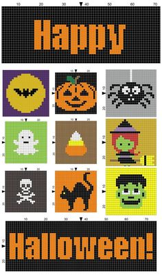 12 Free Crochet Halloween Throws, Blankets & Afghans Patterns - Crafting Happiness Save It Now & Make It Halloween is just a few months away and it's time to plan your decor and choose which ones to start first. C2c Crochet, Tapestry Crochet, Crochet Chart, Free Crochet, Pixel Crochet, Halloween Blanket, Halloween Blocks, Halloween Crochet Patterns, Halloween Cross Stitches