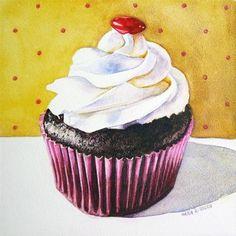 """Libbys Cupcake"" - Original Fine Art for Sale - © Kara K. Bigda"