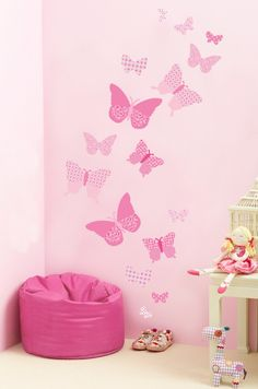 Pink Collection Butterfly Wall Stickers Set - Don't Tell Tales