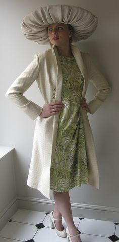 Allison Rodger linen coat and green floral silk dress with Edwina Ibbotson hat