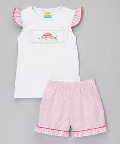 Pink & White Sailfish Top & Shorts - Infant & Toddler by Stitchy Fish #zulily #zulilyfinds