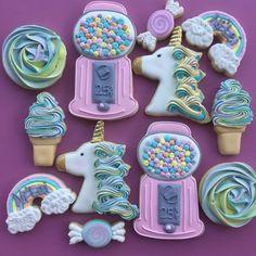 Unicorns, Rainbows, Gumball Machines, Ice Cream And Candy Birthday Party Sugar Cookies TheIcedSugarCookies.com Aujanes Sweets LLC