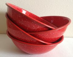 Bright Red Speckled Enamelware Bowls Set of by sinderellasattic, $24.00