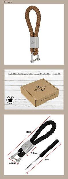 Skipper Schlüsselanhänger aus Kunst-Leder und Edelstahl - Beige 7283 - 14ge Personalized Items, Stainless Steel, Schmuck, Leather, Kunst