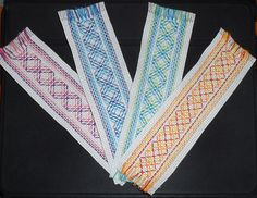 Bookmarks, done in Swedish/huck weaving on Aida cloth. A sort of pseudo-Argyle pattern. For sale on Etsy. Swedish Embroidery, Types Of Embroidery, Cross Stitch Embroidery, Embroidery Patterns, Hand Embroidery, Crochet Patterns, Swedish Weaving Patterns, Monks Cloth, Weaving Techniques