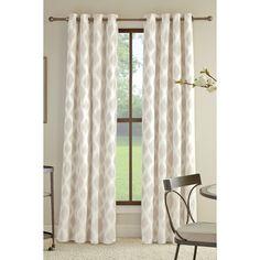 allen   roth Bookner 95-in Neutral Cotton Grommet Light Filtering Single Curtain Panel