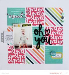 #Papercraft #Scrapbook #Layout. Oh You! by Kelly Noel at @studio_calico 5,000 Scrapbook Titles & Quotes, including words, sayings, phrases, captions, & idea's.