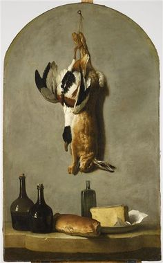 Jean-Baptiste Oudry - Still Life with Hare, Duck, Loaf of Bread, Cheese and Flasks of Wine - Peinture animalière — Wikipédia Still Life Game, Art Gallery, Jean Baptiste, Renaissance Paintings, Painting Still Life, Art Database, Oil Painting Reproductions, Painting Videos, Oil Painting Abstract