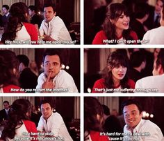 Nick and Jess, New Girl Best Tv Shows, Favorite Tv Shows, Movies And Tv Shows, New Girl Nick And Jess, New Girl Funny, New Girl Quotes, Jake Johnson, Jessica Day, Sweet Guys