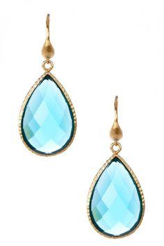 18K Gold Clad Textured Teardrop Faceted London Blue Topaz Crystal Earrings