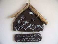 Slate decorative slate garden-Decoration and wood float Style shabby chic-country-romantic-hanging wall Creation Wren - Modern