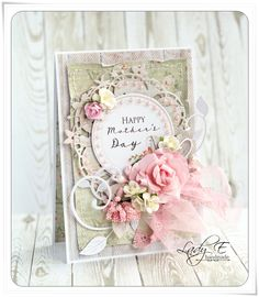 card flowers doilies floirish wreath vintage shabby shic Mother's Day - Scrapbook.com