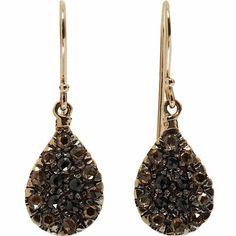 Fabrizio Riva Brown & Black Diamond Teardrop Earrings at Barneys.com