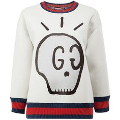 Gucci 'GucciGhost' printed sweatshirt ($740) ❤ liked on Polyvore featuring tops, hoodies, sweatshirts, grey, gucci sweatshirt, patterned sweatshirt, crop top, relaxed fit tops and print sweatshirt