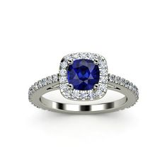 Cushion Sapphire 14K White Gold Ring with Diamond - lay_down