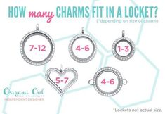 How many charms fit into each Origami Owl Locket.  https://www.facebook.com/TurnOnTheCharms