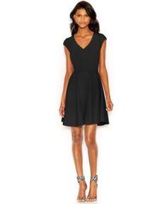 Bar III Cap-Sleeve Fit & Flare Dress