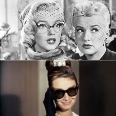 Marilyn Monroe and Audrey Hepburn rocking chic midcentury eyewear