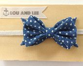 Baby bow headband - with polkadot denim  fabric and natural elastic