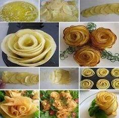 Here's something creative for all the foodies out there. A beautiful way to serve your potatoes as a side dish. Slice, roll and hold together w/ toothpicks... fry in oil or bake! #food #creative #foodporn