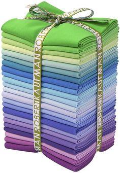 23 Fat Quarter Bundle Sunset Colorway from Robert Kaufman Fantastic Colors! 18 x cotton, high quality, designer quilt store fabric. Sunset Palette, Pink Chalk, Purple Sunset, Different Shades Of Green, Modes4u, Textiles, Kawaii Shop, Kona Cotton, Kit