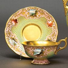 Coalport cabinet cup and saucer with a pink ground, concentric turquoise jewelling, rectangular reserves painted with landscape scenes, a gilded interior and a printed green mark Tea Cup Set, My Cup Of Tea, Tea Cup Saucer, Tea Sets, Vintage Cups, Vintage Tea, Vintage China, Teapots And Cups, Teacups