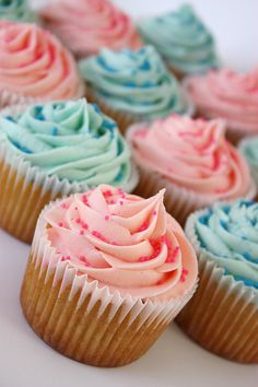 Pink & Blue Vanilla Cupcakes by ConsumedbyCake, via Flickr