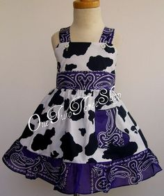 Items similar to Western pageant casual girl jumper dress on Etsy Cowgirl Birthday, Cowgirl Party, Making Clothes, How To Make Clothes, Birthday Party Outfits, Birthday Fun, Cowgirl Dress Up, Bandana Dress, Purple Cow