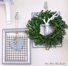 Blank frames with pully's galvanized heart and boxwood wreath with deer