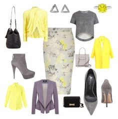 """Grey/Yellow."" by fashionizmypassion ❤ liked on Polyvore featuring River Island, Jean-Michel Cazabat, Coco's Liberty, BCBGMAXAZRIA, Viyella, Matthew Williamson, Miu Miu, Raey, Kate Spade and Rebecca Minkoff"